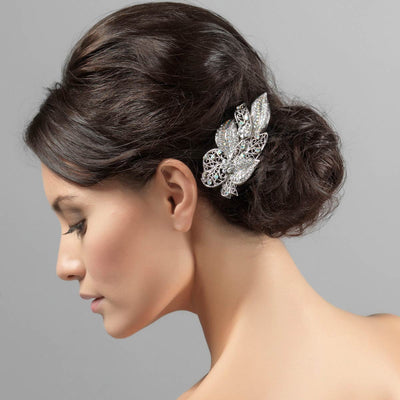 Leaves of Love Barrette Hair Clip styled in a classic bun hairstyle