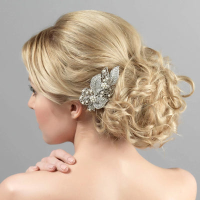 Leaves of Pearl Wedding Hair Clip styled in a wavy up-do hairstyle