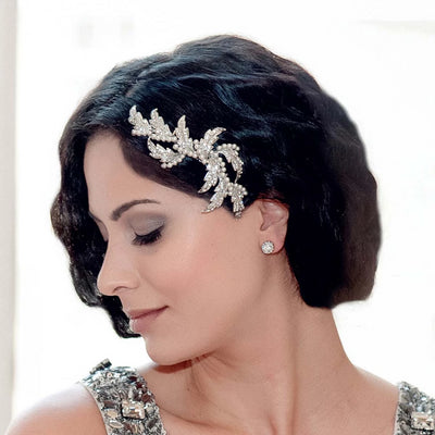 Leaves of the Twenties Hair Comb styled in a Gatsby Marcel Wave hairstyle