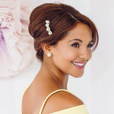 Lemon Dream Pearl Hair Comb styled in French pleat bridesmaid hairstyle