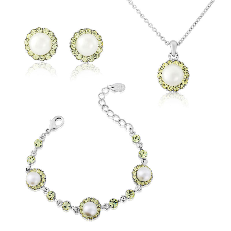 Lemon Dream Pearl Jewellery Set with Pendant, Bracelet and Earrings