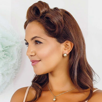 Model bridesmaid wears Luxe Treasure Stud Earrings