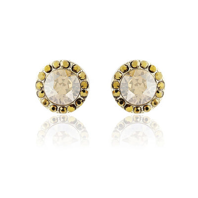 Luxe Treasure Gold Crystal Stud Earrings