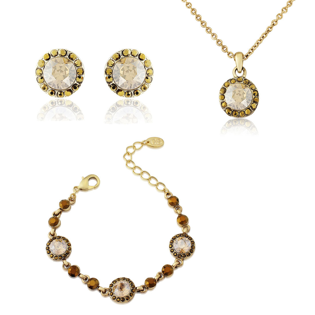 Luxe Treasure Jewellery Set featuring pendant, earrings and bracelet