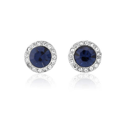 Moonlight Shimmer Navy Crystal Stud Earrings