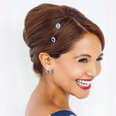 Model wears Moonlight Shimmer Navy Crystal Hair Pins