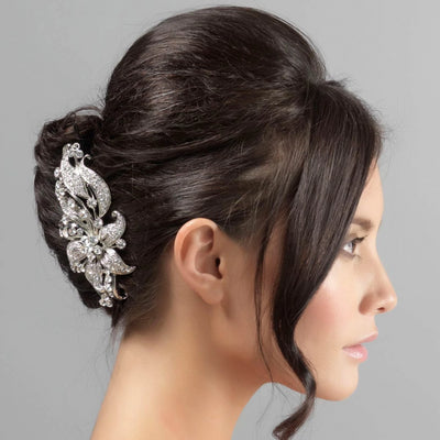 Nostalgic Extravagance Lily Hair Comb styled in a French pleat wedding hairstyle