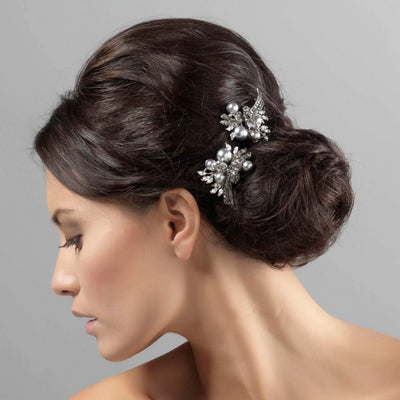 Nostalgic Heirloom Grey Pearl Hair Pins styled in a side bun hairstyle