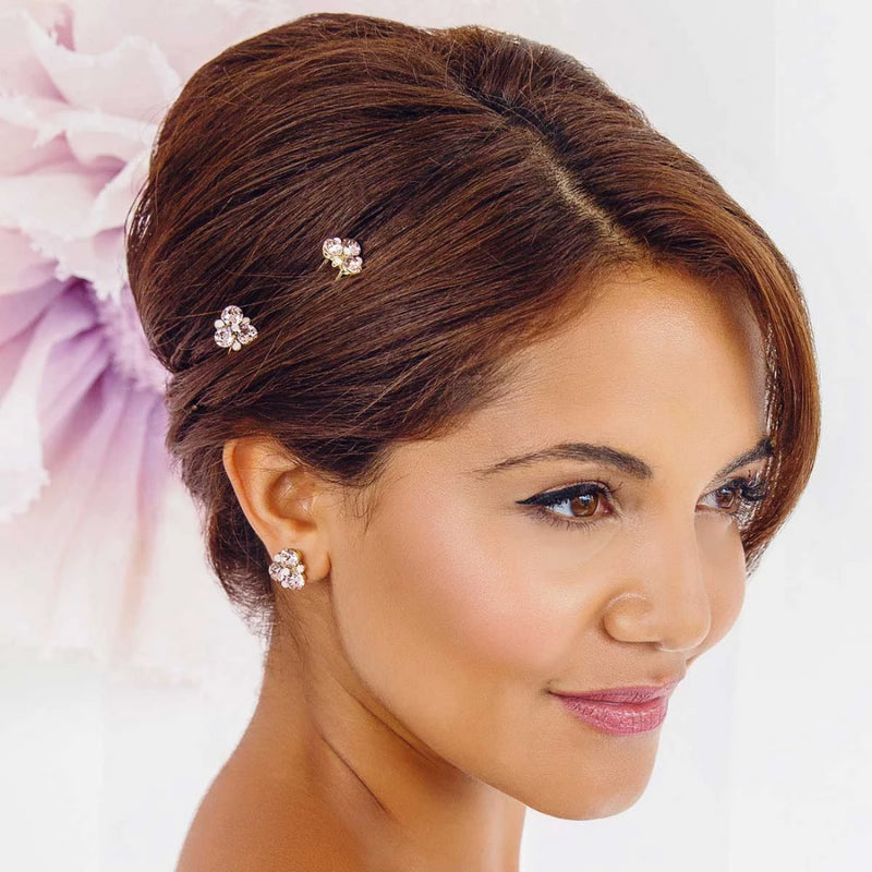 Paradise Pink Gold Wedding Hair Pins