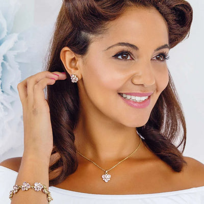Model bridesmaid wears our Paradise Pink Wedding Pendant
