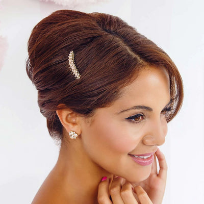 Peach Passion Gold Stud Earrings shown on our model bridesmaid