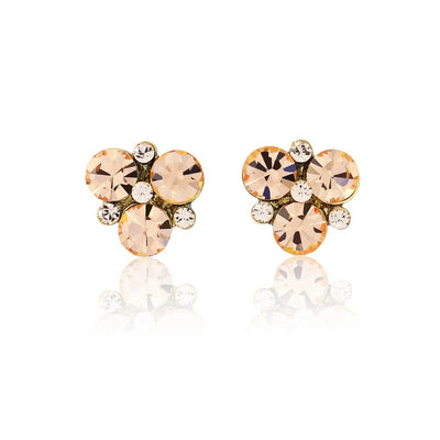 Peach Passion Gold Stud Earrings