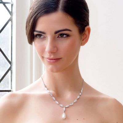 Model bride wears Pearl Elegance Bridal Necklace
