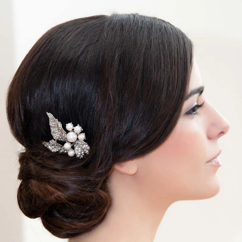 Pearl Leaves Floral Wedding Hair Pin