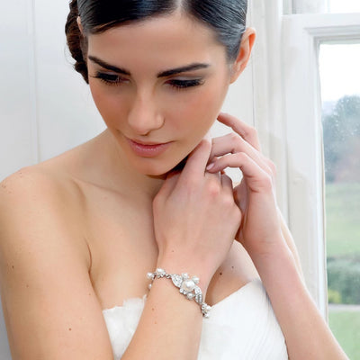 Pearl Starlet Wedding Bracelet shown on our model bride