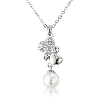 Pearls and Love Hearts Bridal Pendant
