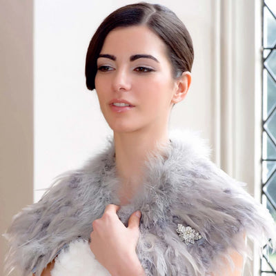 Model brides wears Pearls of Charm Vintage Brooch