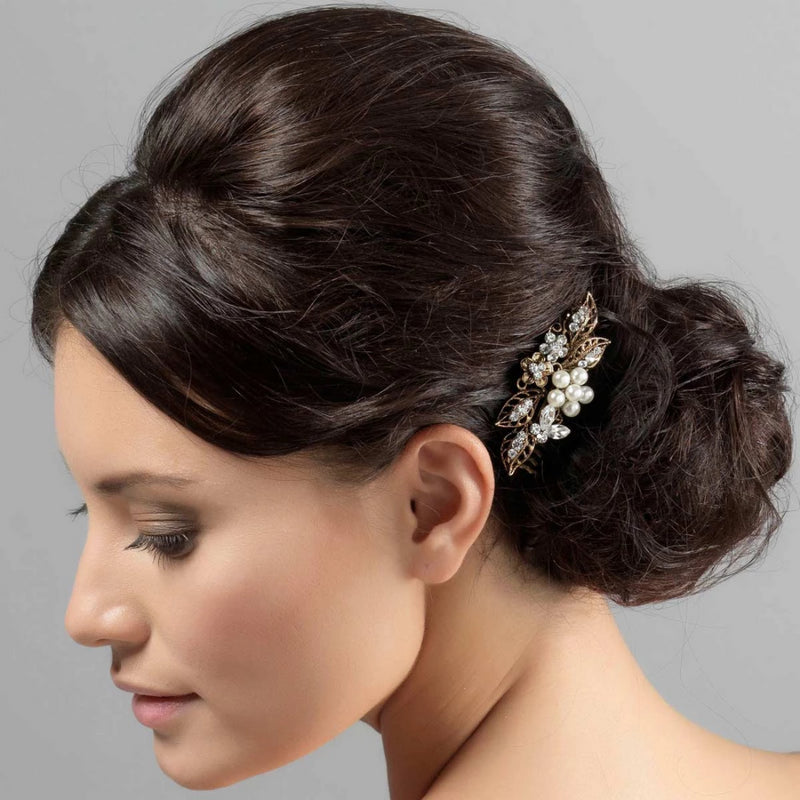 Pearls of Enchantment Gold Wedding Hair Comb