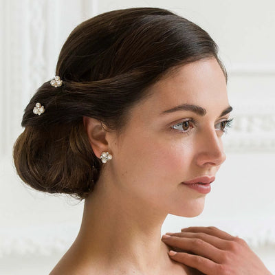 Pearls of Gold Wedding Hair Pins shown in an elegant bridal updo