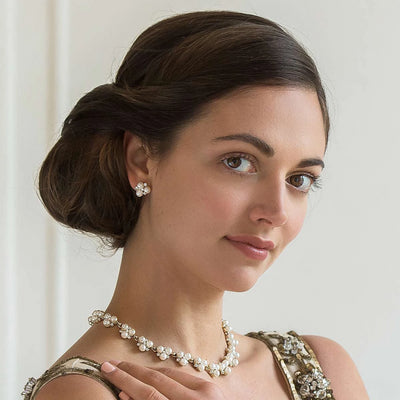 Model bride wears Pearls of Gold Wedding Collar Necklace