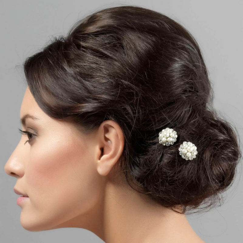 Pearls of Love Floral Bridal Hair Combs