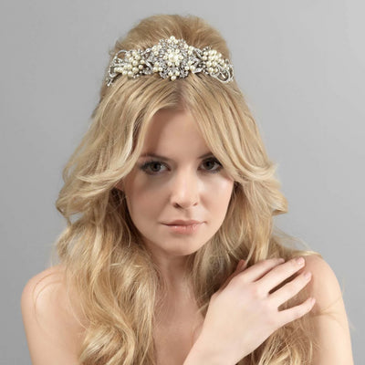 Pearls of Nostalgia Bridal Tiara shown in a half up wedding hairstyle