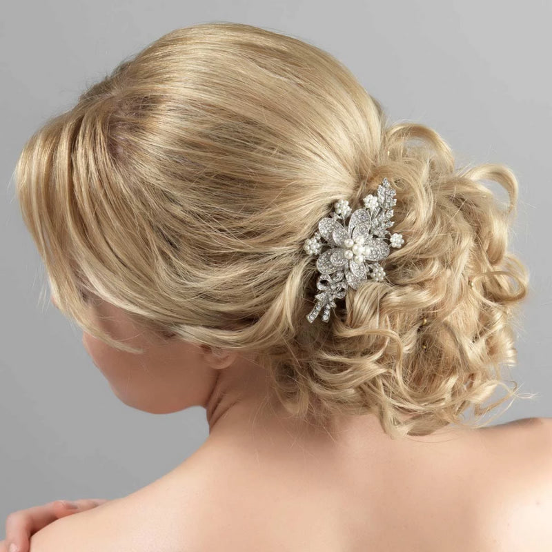 Pearls of Romance Wedding Flower Hair Clip
