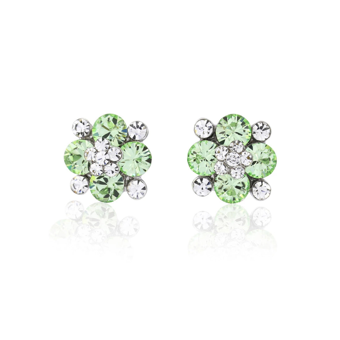 Peppermint Dream Green Crystal Stud Earrings