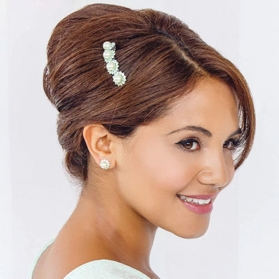 Model bridesmaid wears Perfect Pistachio Green Pearl Stud Earrings