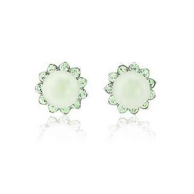 Perfect Pistachio Green Pearl Stud Earrings