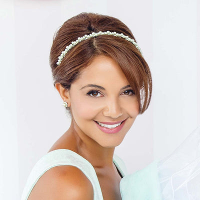 Perfect Pistachio Green Pearl Headband shown on our model bride