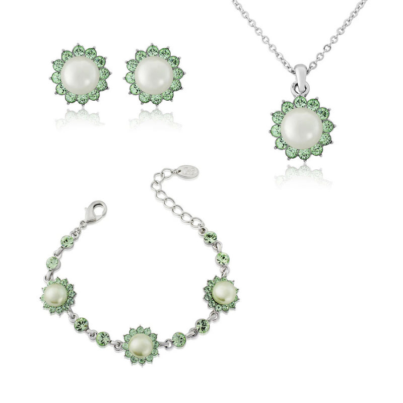 Perfect Pistachio Green Pearl Jewellery Set