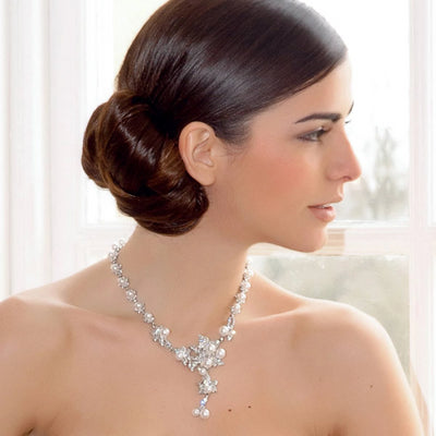 Model bride wears Petals and Pearls Wedding Necklace