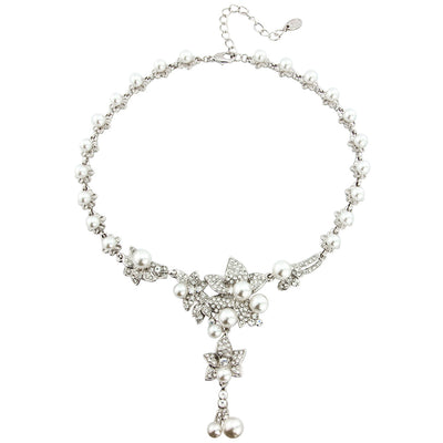 Petals and Pearls Wedding Y Necklace