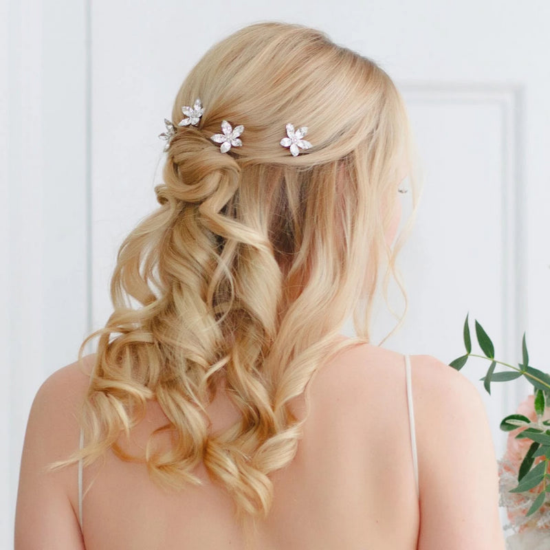 Petals of Love Crystal Flower Wedding Hair Combs