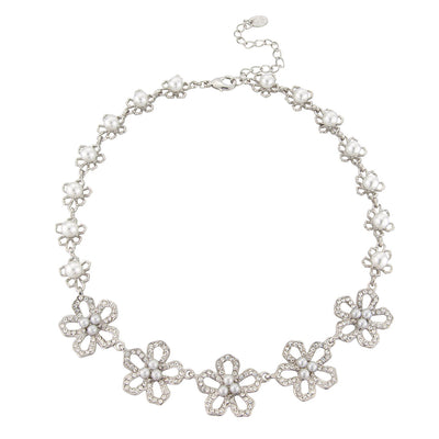Petals of Pearls Flower Collar Necklace