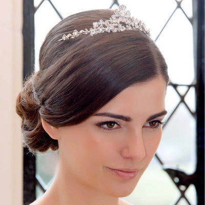 Posy of Class Wedding Tiara shown in a classic bridal updo