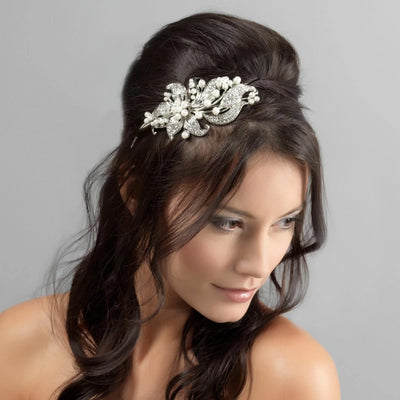 Precious Extravagance Lily Wedding Side Tiara shown in a half-up hairstyle