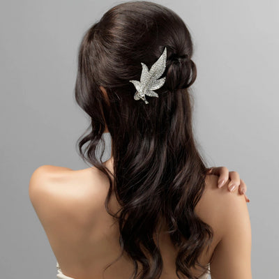 Precious Leaf Concord Clip shown in a tousled half up hairstyle