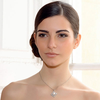 Model bride wears Precious Pearl Wedding Pendant