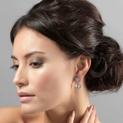 Model wears Pretty Precious Crystal Drop Earrings