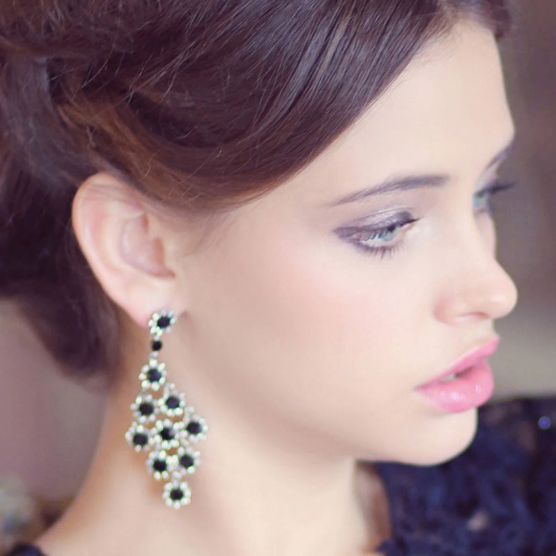 Private Jet Black Fashion Chandelier Earrings