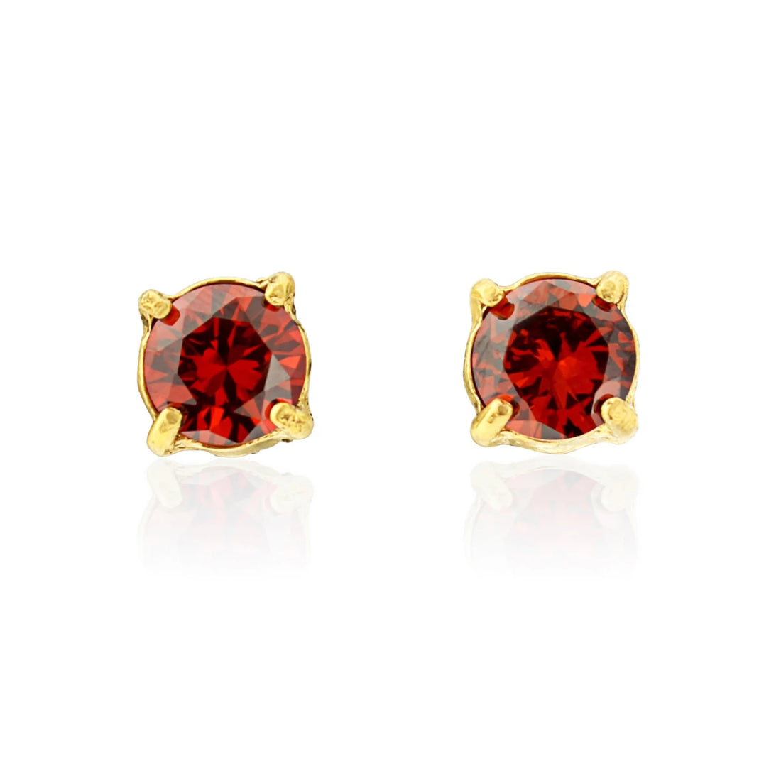 Radiant Ruby gold red crystal stud fashion earrings