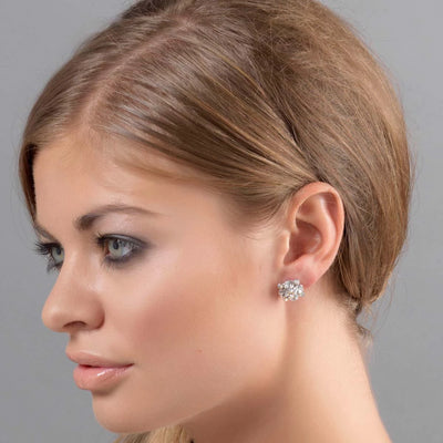 Radiant Starlet Stud bridal earrings shown on our model bride