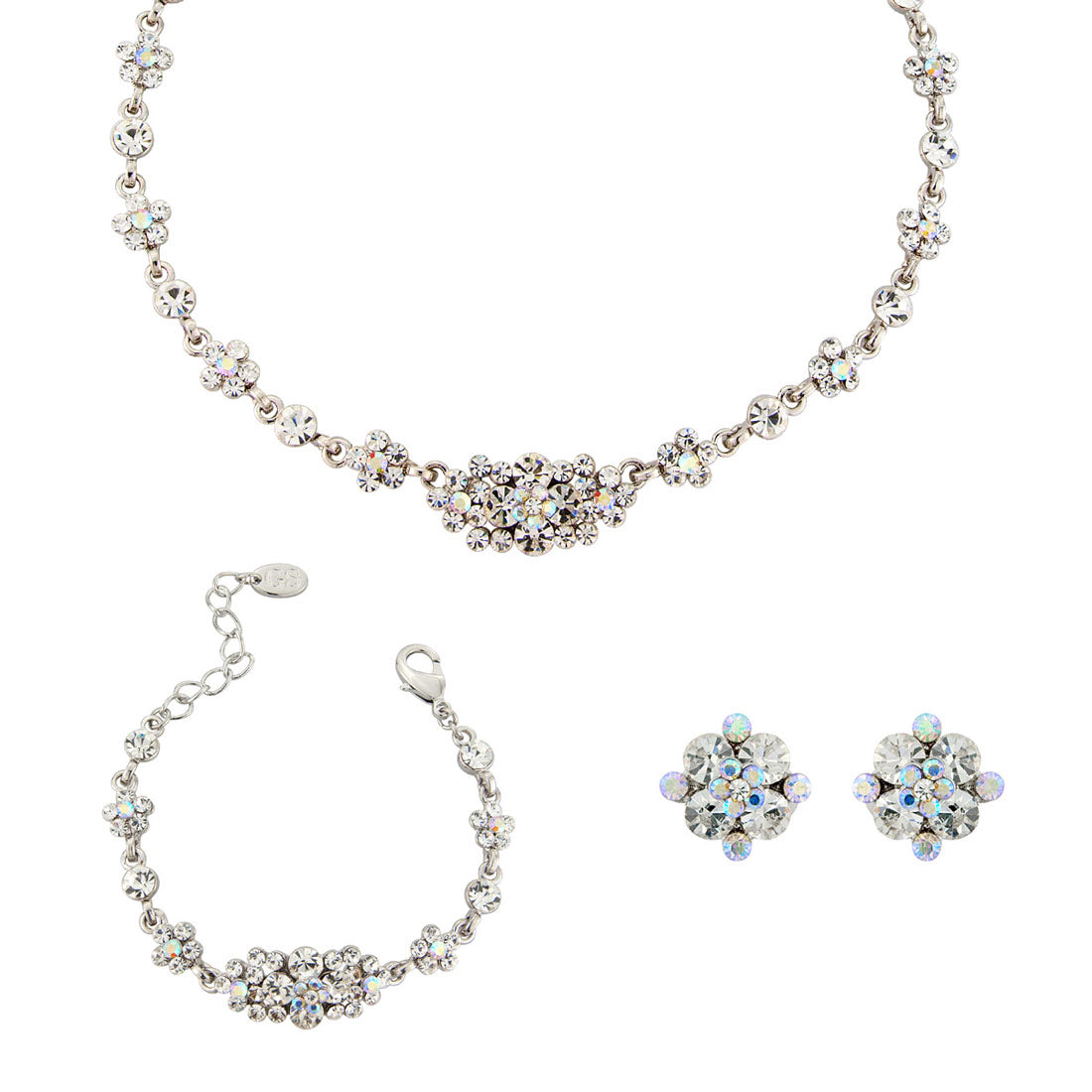 Radiant Starlet AB Crystal wedding jewellery set