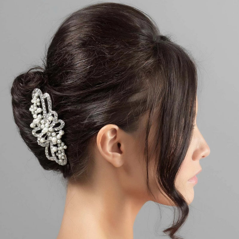 Ribbons of Pearl crystal and pearl large wedding hair comb