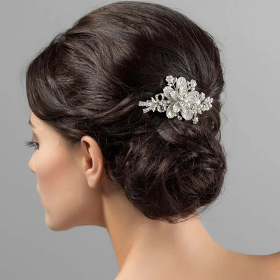 Romance Bridal Hair Clip shown in an elegant wedding chignon updo