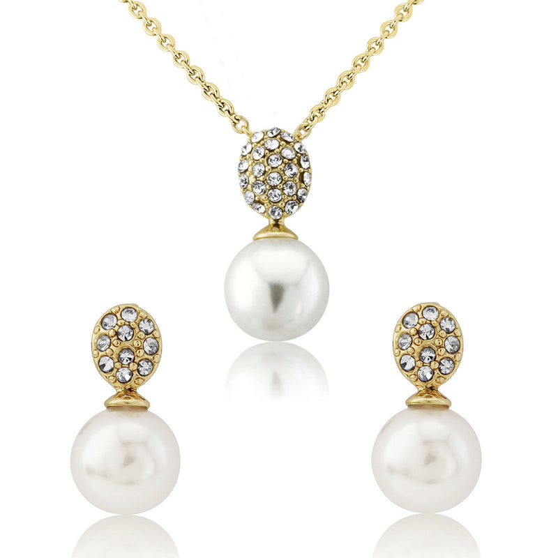 Romance in Gold crystal pearl wedding jewellery set