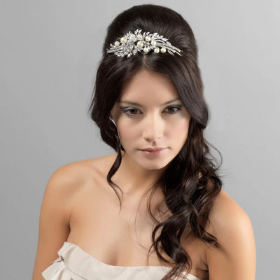 Romance of Enchantment Bridal Tiara shown in a half up wedding hairstyle