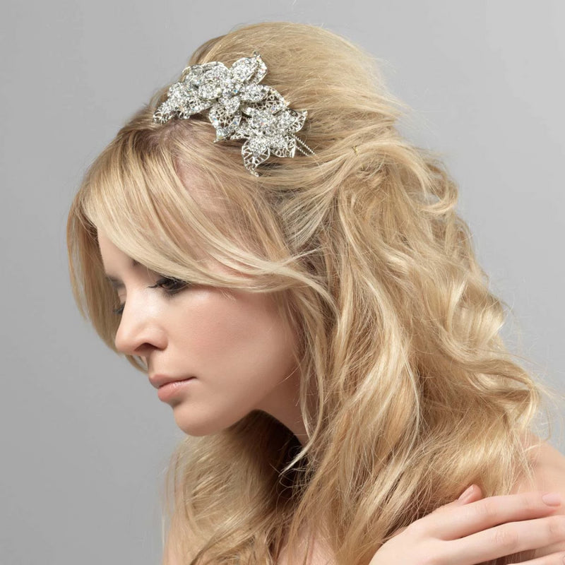 Romantic Sensation crystal floral wedding side tiara